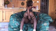 Chubby ebony amateur in fishnets blows his big stick and gets hammered