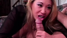 Buxom Oriental girl Miko Lee blows a cock and gets a mouthful of cum