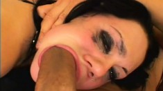 A natural born slut begs to be treated badly by two hung dudes