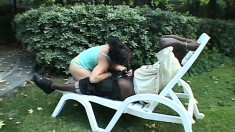 A cheating housewife falls to her knees to suck a black man's pole