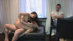 She gets some strange while she makes her cuckolded man watch them fuck