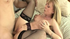 Blonde cougar Nina can't wait to let in this young hunk's XXL wang