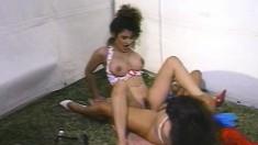 Luscious girlfriends Leanna Foxxx and Lexy Cruz sharing a huge dildo