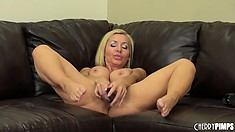 Busty Lisa DeMarco shows that fine ass and jams her dildo in deep
