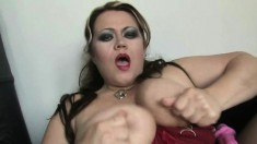 Huge breasted mom in black stockings drills her cunt with a pink dildo