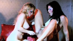 Blonde and brunette hotties seize the chance to engage in lesbian sex
