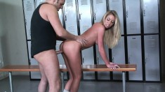 Fascinating Brynn Tyler gets pounded doggy style in the locker room