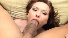 Sexy redhead cougar with a superb ass Katja Kassin gags on a long pole