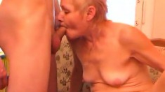 Insatiable old woman invites a younger guy to pound her aching pussy