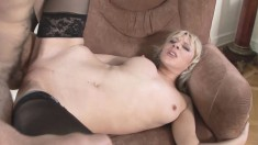 Mature blonde gets horny and mounts a throbbing rod of pleasure