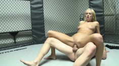 Blonde bombshell fucks a throbbing dick in every position in the ring