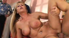 Big-breasted wife rides a vicious fun stick while being watched by her husband