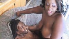 Busty ebony babe's jugs bounce as she lets in a relentless bone