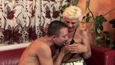 Insatiable blonde milf uses her seduction skills to fuck a young stud