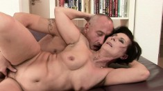 Horny older guy enjoys thrusting it inside this skank's tight hole