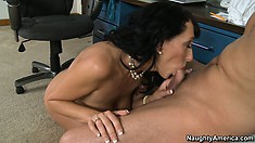 Desirable witch Alia Janine intends to exploit cock of her office buddy