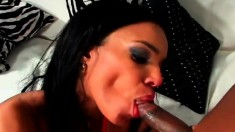 Busty dark-haired Soleil is eager to take this bulging bone in her mouth