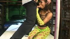 Ebony slut Marie Luv gets her narrow ass fucked hard and deep by Sasha