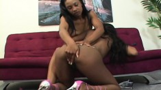 Ebony lesbians like eating pussy and fucking with their toys