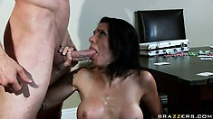 A ride on this cock and some sucking makes it erupt all over her face