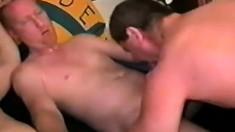 Three gays meet in a bike shop and blast ass before getting facials