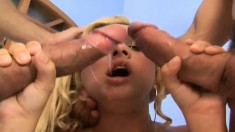 Bodacious blonde nympho Destiny Star getting roughly double drilled