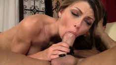 18 yo brunette gobbles up a big dick and gets her twat split wide