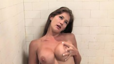 Stacked beauty with a splendid ass Felony is addicted to cum and piss