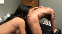 Muscled guy indulges in passionate sex with sultry brunette masseuse