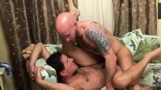 Lustful gay stud worships his friend's cock and punishes his tight ass