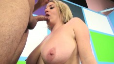 Voluptuous blonde Maggie Green enjoys a vibrator and a throbbing dick
