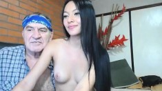 Tiny Teen and Old person Threesome