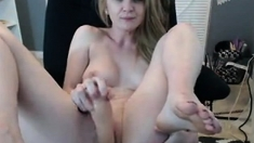 Pussy toying busty high heeled stunner solo pov masturbation