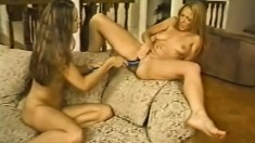 Busty blonde lesbian strapon fucked