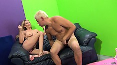 She waits for round two and sits on his face, then his prick