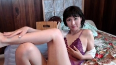 Hot asian milf in sizzling solo action