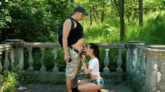 Brunette teen outdoor pov