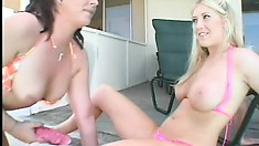 They start with lesbian love poolside, then get joined by a horny stud