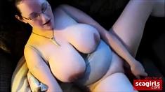 Mutual masturbation with cum on tits