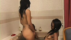 Lusty black lesbians engage in a juicy threesome with a strap-on