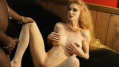 Dirty secretary gets her tight pussy stretched by a huge black cock