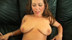 Busty brunette amateur rubs her snatch then takes on a big black dick