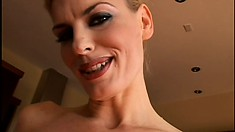 Gorgeous blonde milf with big tits invites a black stud to drill her fiery holes