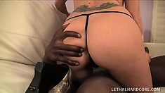 Brooklyn Jade blows Mo and then he shoves his big rod in her bald cunt