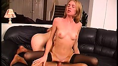 Eager lover is nailing beautiful bitches on a comfy black sofa