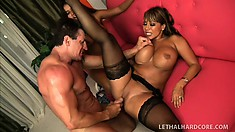 Two hotties Ava and Jynx give this lucky dude some hot mamma sex in a threesome