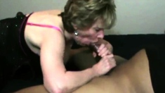 Interracial Loving Granny Is Giving Blowjob To A Bbc