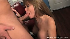 Busty milf Darla Crane gets her pussy licked and returns the favor with a blowjob