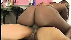 Fat as hell black bitch with huge tits gets rocked by a big dick