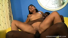 Lovely Asian tart Lucky Starr gets deep fucking with ebony dude